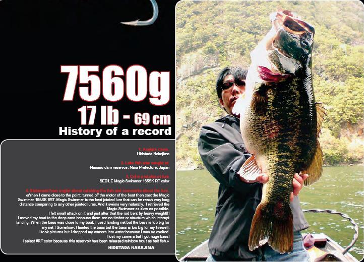 17lb Bass caught on magic swimmer (from Sebile Catalog)