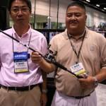 Product Managers Ted Akutsu and Bryan Yamane proudly display the latest Daiwa Steez rod